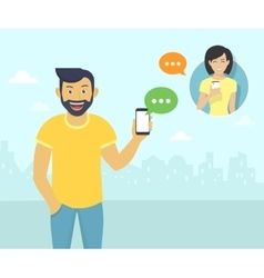 Happy guy is chatting with friends via messenger vector