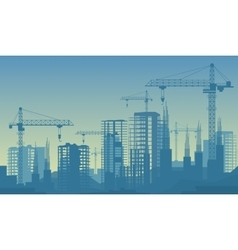 Banner of buildings under vector