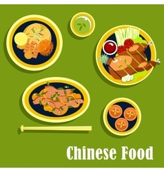 Traditional dinner of chinese cuisine flat style vector
