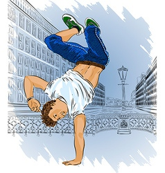 Man breakdancing on the street vector