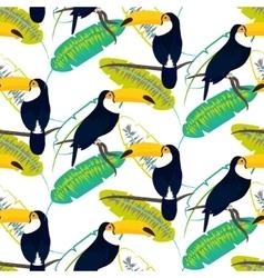 Toco toucan bird on banana leaves seamless vector