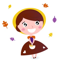 Cute girl with autumn leaves isolated on white vector