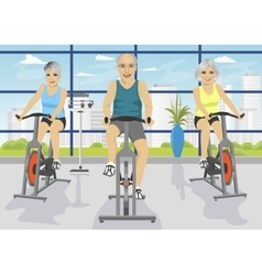 Senior people working out on exercise bikes vector
