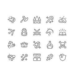 Line Fantasy Icons vector image