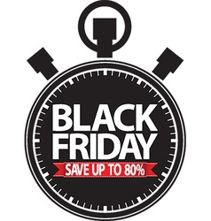 Black friday save up to 80 stopwatch black icon vector