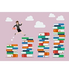 Business woman jumping over higher stack of books vector