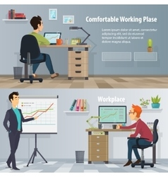 Business workplace horizontal banners vector