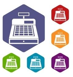 Cash register icons set vector