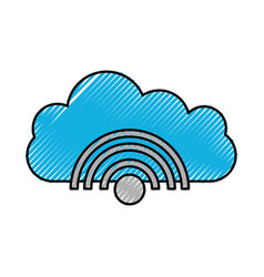 cloud wifi signal internet connection web icon vector image