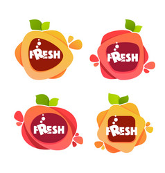 Collection of bright and shine stickers emblems vector