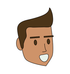 Color image cartoon side view face man with vector