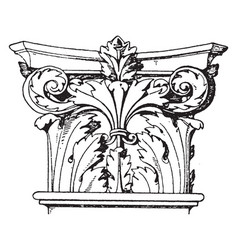 Corinthian pilaster capital encircled with vector
