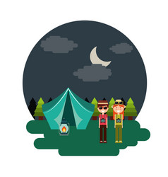 couple tent camping burning night landscape vector image