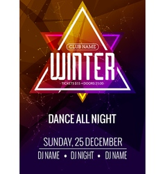 Dance party dj battle poster design Winter disco vector image