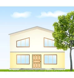 facade with tree vector image vector image