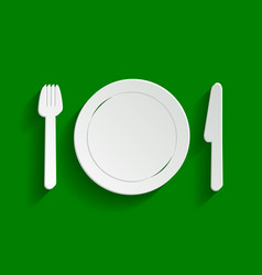 Fork plate and knife paper whitish icon vector