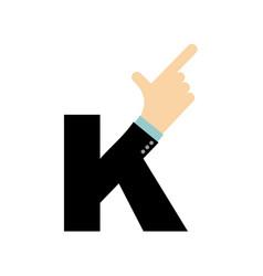 K letter hand forefinger lettering hand of vector