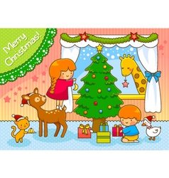 kids and animals on Christmas vector image
