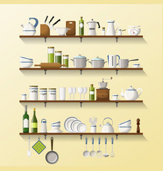 Kitchen shelves with dishes and pots vector