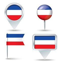 Map pins with flag of Serbia and Montenegro vector image vector image