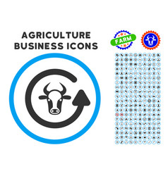 Refresh bull rounded icon with set vector