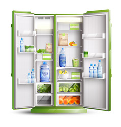 Refrigerator organization realistic object vector