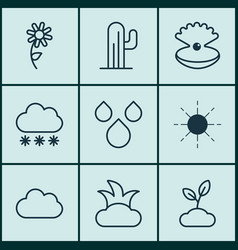 Set of 9 landscape icons includes water drops vector
