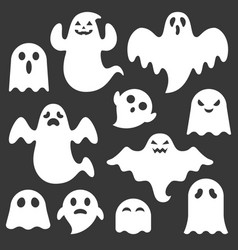 Set of cute ghost creation kit vector