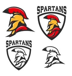 Set of emblems with Spartan helmet Design vector image vector image