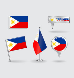 Set of philippines pin icon and map pointer flags vector