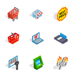 Shopping elements icons isometric 3d style vector