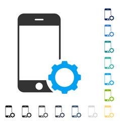 Smartphone setup gear icon vector