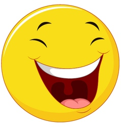 Smiling emoticon with laugh face vector image