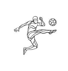 Soccer player silhouette kicks the ball vector