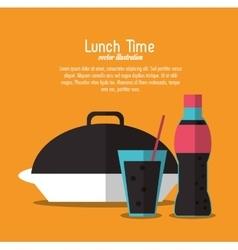 Soda coke plate lunch time menu icon vector