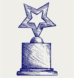 Star award against vector image vector image