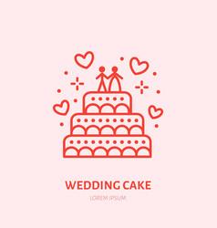 wedding cake sweets flat line icon vector image vector image