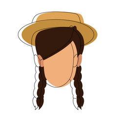woman face character young female vector image