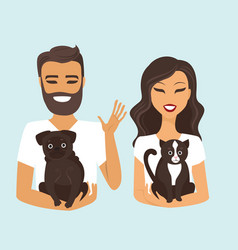 Young couple with dog and cat vector