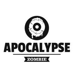 Zombie terror logo simple black style vector