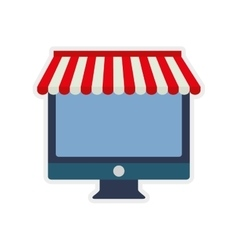 Computer shopping commerce market icon vector