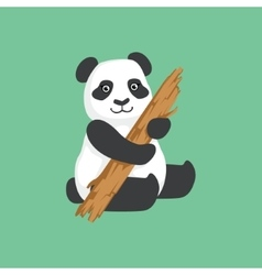 Cute panda character with piece of wood vector