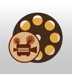 Camera movie vintage film reel icon design vector