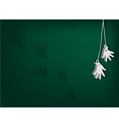 White artificial hands hanging on green background vector
