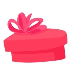 Pink heart shaped gift box with ribbon icon vector image