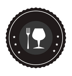monochrome circular frame with fork cutlery and vector image