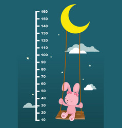 Meter wall with rabbit on swing hanging vector