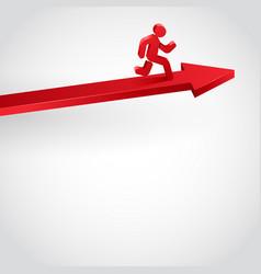 winner running person on arrow vector image