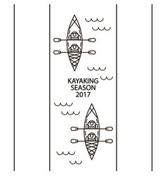 concept of linear icons of kayaks with people vector image