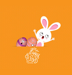 Happy easter eggs and bunny funny greeting card vector